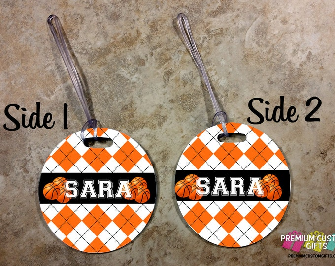 Basketball Personalized Bag Tag - Custom Travel Luggage Tag - Sports Bag Tags - Monogram Bag Tag - Personalized Tag - Design #BT117