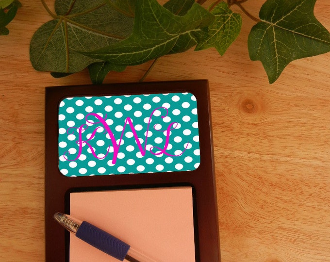 Personalized Mahogany Sticky Note Holders | Personalize By Using Your Name, Monogram Initials, Or Photo. Great Gift For The Home Or Office