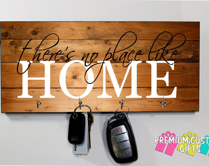 There's No Place Like Home Key Holder On MDF - Wood Look Background Wall Key Rack With Glossy Finish - Wooden Key Hanger Design #KH200