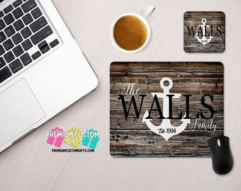 Family Name with Anchor Personalized Mouse Pad and Coaster Set - Personalized Office Desk Set - Monogram Mouse Pad - Teacher Gift