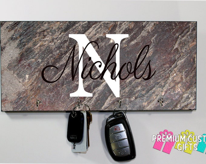 Family Name Key Holder - Personalize Wedding gift - aged look- Anniversary - His and Her gift - Design #KH163