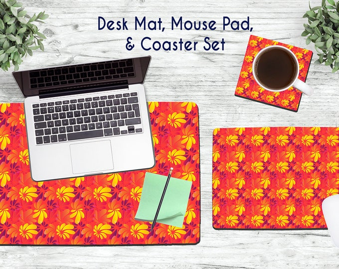 Hawaiian Flowers Desk Set - Desk Accessories - Mouse Pad - Desk Mat - Coaster - Monogram Mouse Pad - Floral Desk Set -  Office Desk Set