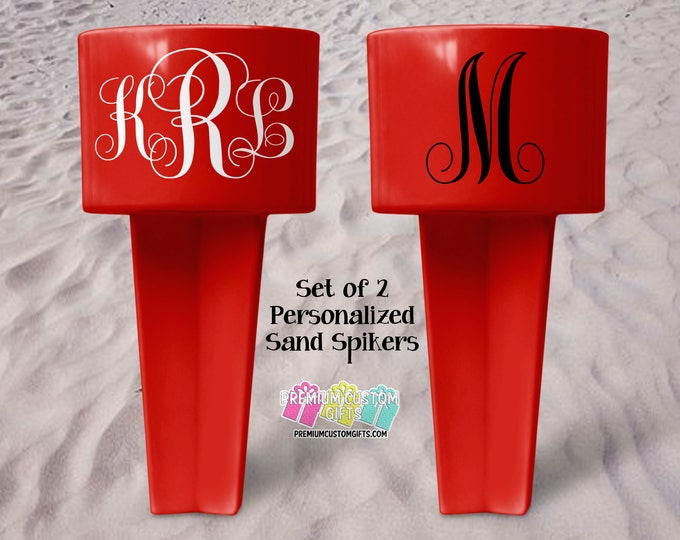 Monogram Sand Spiker - Beach Sand Spiker - Monogrammed Beach Cup Holder - Custom Beach Cup Holder - Valentine's Day Gift - Beverage Holder