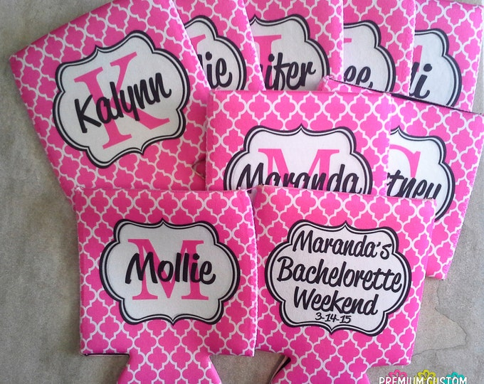 Set of 9 Bachelorette Party Can Coolers - Personalized Can Coolies - Vacation Can Coolies - Monogram Can Coolers - Holiday Party Can Coolers