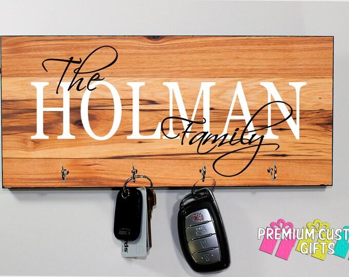 Custom Family Key Holder - Family Name Key Hanger - Wall Key Holder - Choose Your Wood Look Background Design #KH223