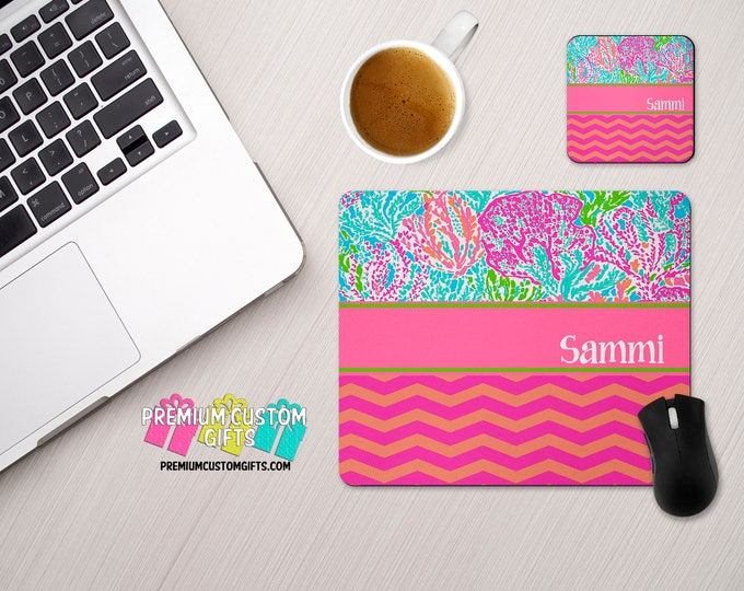 Personalized Mouse Pad and Coaster Set With Your Name - Chevron and Lilly Pulitzer Inspired Monogrammed Mouse Pad With Custom Coaster