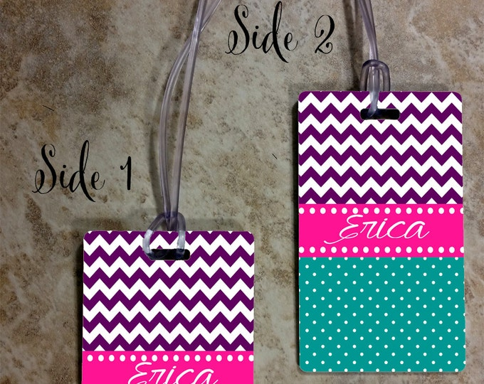 Monogrammed Luggage Tag Rectangle - Custom Travel Luggage Tag - Bag Tags - Personalized Monogram Bag Tag - Rectangle Tag - Design #RBT102