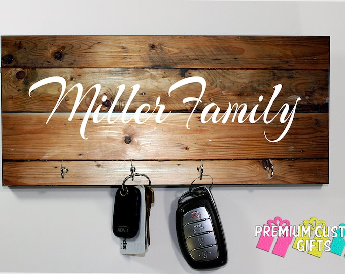 Family Name Key Holder Made Of MDF- Image Is Dyed Into Surface - Personalize For Wedding - Holiday - Anniversary - Gift - Design #KH127