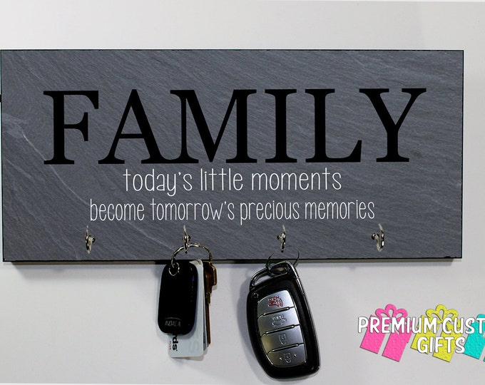 Slate Look Keyholder on MDF - Personalized Wall Rack Key Hanger With Family Quote - Anniversary - Housewarming Gift - Design #KH174