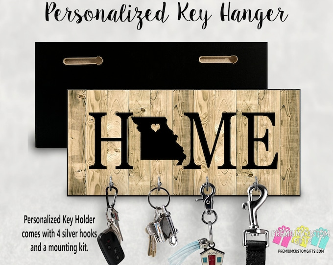 Home Wall Key Holder Personalized With Your State Made Of MDF Wall Key Hanger - Housewarming - Wedding Gift - Wall Mounted Key Holder