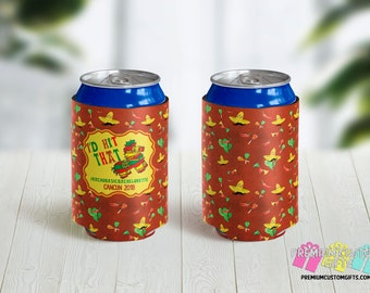 I'd Hit That Custom Can Coolers - Destination Can Coolers - Cancun Can Coolies - Vacation Can Coolers - Mexican Background Can Coolers