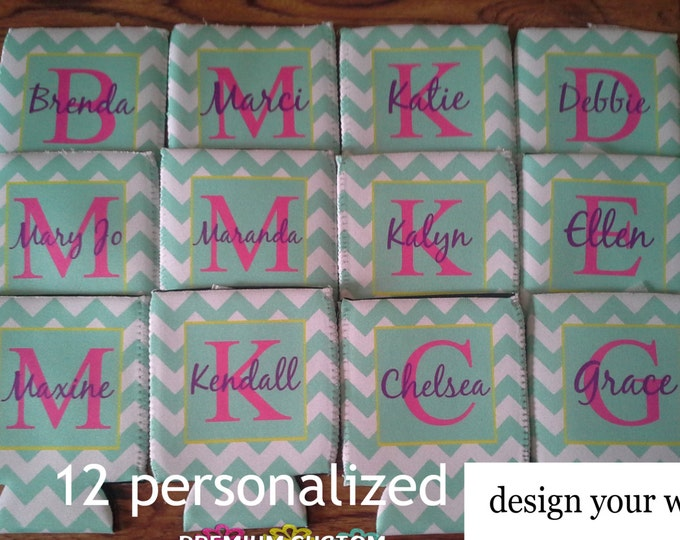 12 Personalized Can Coolers - Custom Coolers - Monogrammed Coolers - Perfect For Bachelorette/Wedding Can Coolers - and Any Other Occasions