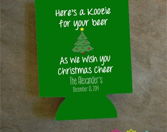 Christmas Can Cooler - Any Quantity - Christmas Party Favor - Holiday Christmas Party Cooler - Design #K108