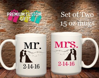 Set of Two 15 Oz Ceramic Mugs - Custom Mr and Mrs Mugs with Wedding Date - Coffee Cup - Personalized Mugs - Custom Coffee Cups