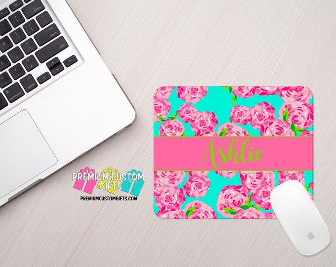 Lilly Pulitzer Inspired Mouse Pad Personalized With Your Name - Perfect Office Gift - Personalized Gift - Computer Desk Mouse Pad