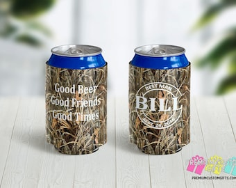 Camo Bachelor Party Can Coolers - Monogrammed Can Coolers - Custom Can Coolers - Destination Can Coolies - Wedding Party Can Coolers