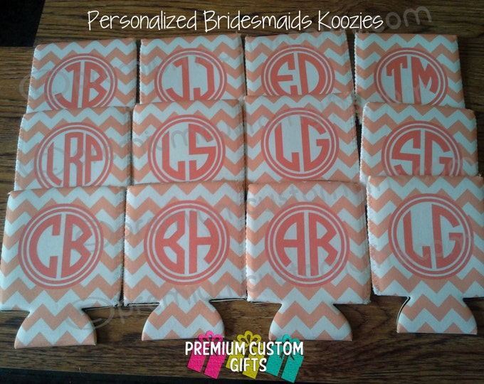 Set of 12 Personalized Bridesmaids Can Coolers - Monogram - Bachelorette Can Coolers - Design#KH153