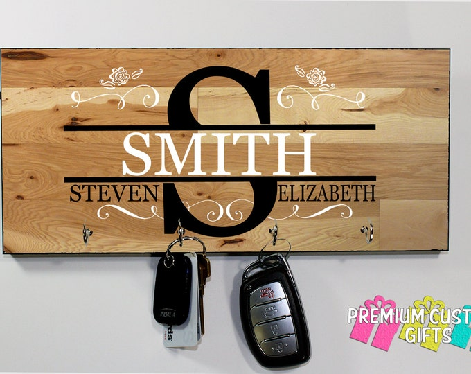 Family Name With Key Hanger Made Of MDF - Wedding and Anniversary Gift - Personalized - Housewarming Gift - Design #KH132