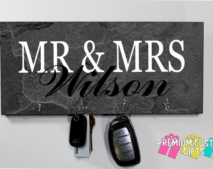 Family Name Slate Look Wall Keyholder- on MDF - Personalized Wall Rack Key Hanger- Anniversary - Housewarming Gift - Design #KH195