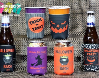 Halloween Can Coolers - Fits Most Solo Cups - 12 oz Beer Can - 12 oz Can Coolers - Halloween Party Favor  - Design #K124