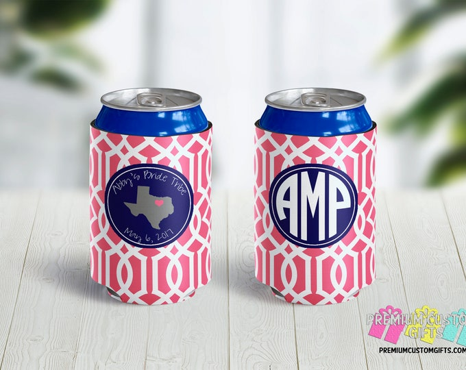 Bride Tribe Bachelorette Can Coolers - Custom State Cooler - Personalized Can Coolies - Monogrammed Beer Can Coolers - Bachelor Can Cooler