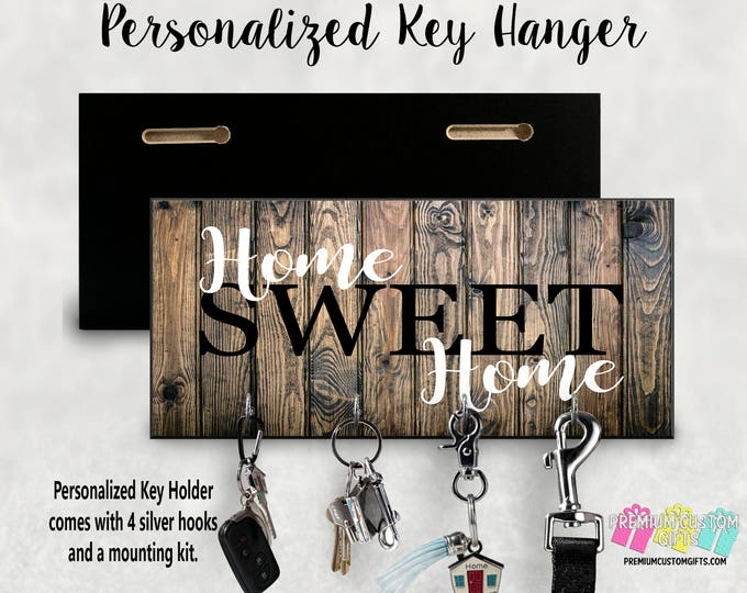 Home Sweet Home Custom Wall Key Holder Made Of MDF - Personalized Wall Key Hanger - Perfect Housewarming Gift, Anniversary and Wedding Gift