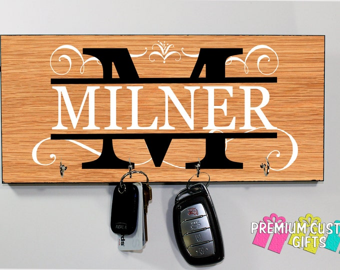 Custom Wall Key Holder Made of MDF - Different Wood-Look Background Options Available- Anniversary - Housewarming Gift - Design #KH213