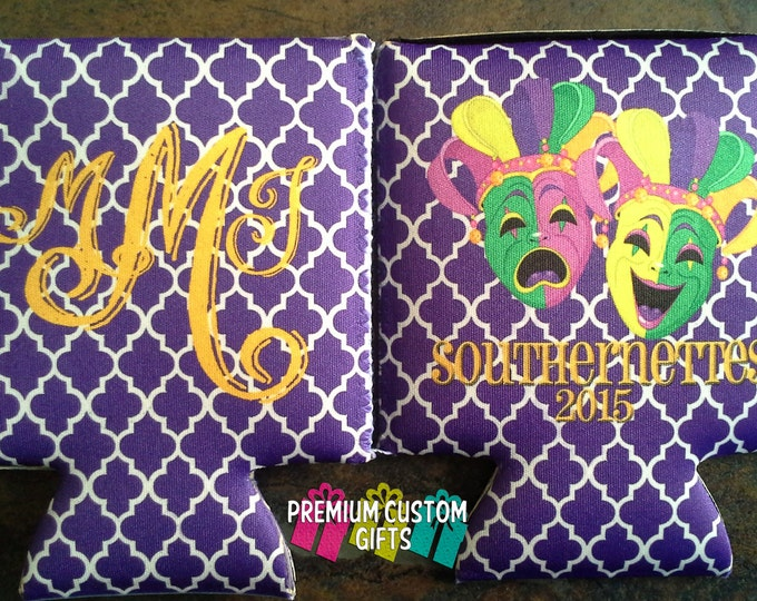 Set Of 2 Custom Can Cooler - Custom Neopreme Can Coolers - Monogrammed Can Coolers - Bachelorette Can Coolers - Vacation Can Coolers