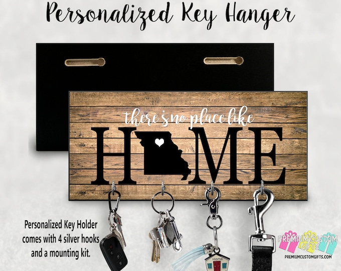 There's No Place Like Home with State Wall Key Hanger - Personalized Key Holder - MDF Wall Key Hanger - Housewarming Gift - Wedding Gift