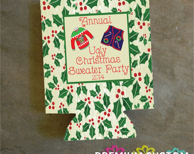 Christmas ugly sweater - Ugly Sweater Can Coolers Design #K105