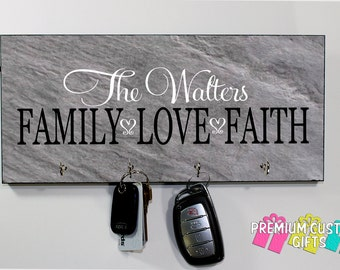 Slate Look Keyholder on MDF - Personalized Wall Rack Key Hanger With Family Name and Quote - Anniversary - Housewarming Gift - Design #KH176