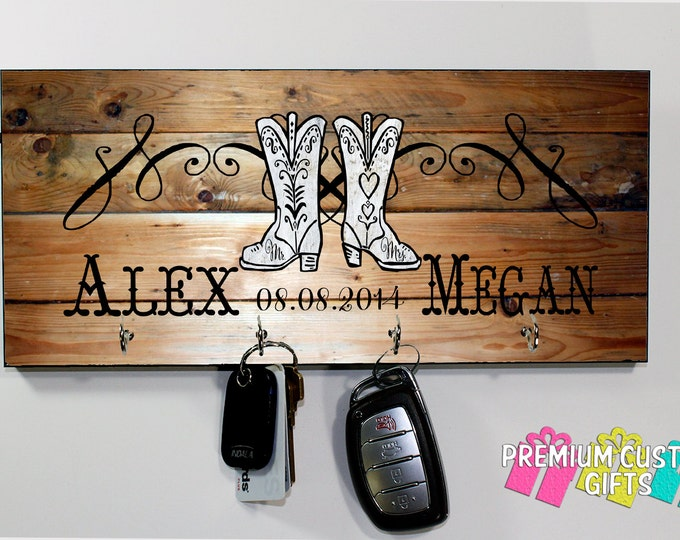 Mr and Mrs Cowboy Boots KeyHanger - Wedding, Holiday, and Anniversary Gift - Personalized MDF Key Holder - Housewarming Gift - Design #KH147