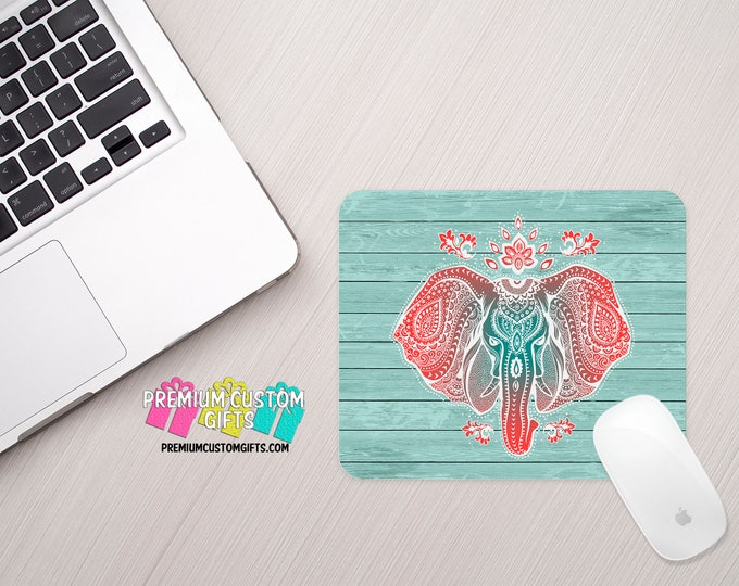 Elephant Mouse Pad - Animal Mouse Pad - Vintage Elephant Mouse Pad - Custom Mouse Pad - Office Gift  - Personalized Gift - Planet Gift