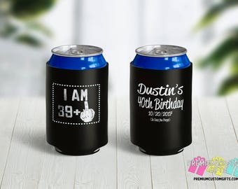 40th Birthday Can Coolers - Birthday Party Can Coolers - Personalized Can Coolies - Monogrammed  Beer Can Coolers - Custom Can Coolers