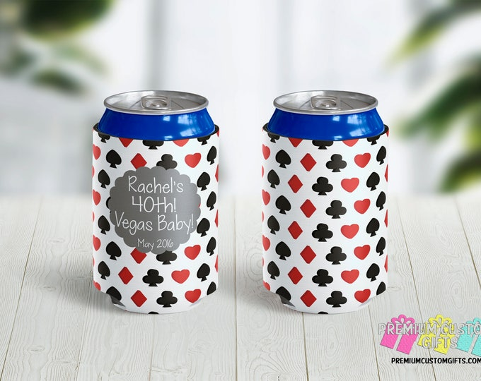 Vegas Birthday Party Custom Can Coolers - 40th Birthday Can Coolers - Custom Can Coolers - Destination Can Coolies - Beer Can Coolers
