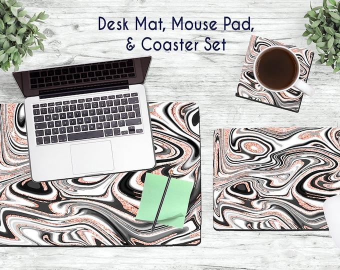Black, White, and Rose Gold Marble Desk Set - Desk Accessories - Mouse Pad - Desk Mat - Coaster - Monogram Mouse Pad - Custom Mouse Pad