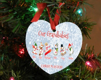 Grandkid Ornament - Baby Ornament - Grandmother Gift - Grandparent Ornament - Heart Shaped Ornament Design #OR108