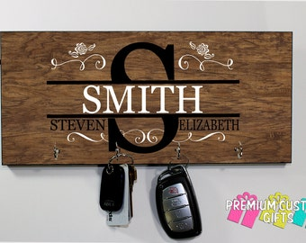 Family Name Key Hanger Made of MDF - Personalize For Wedding- Customer Gift - Holiday - Anniversary - Gift - Design #KH131
