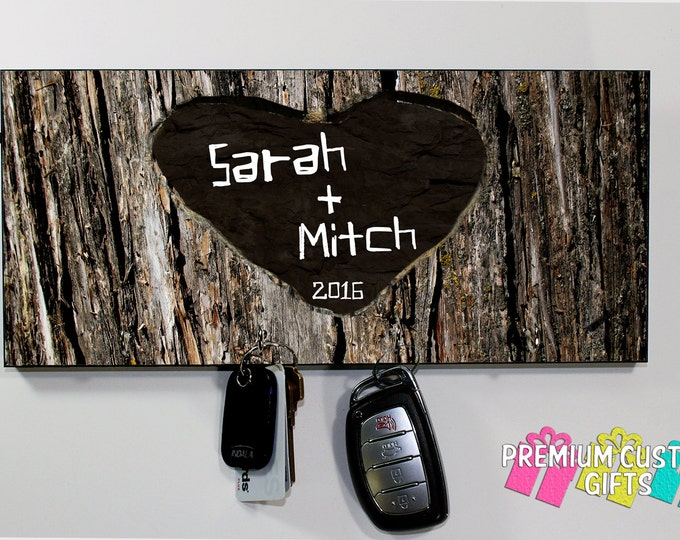 Personalized Tree Name Carved Key Holder -Wedding Gift - Anniversary Gift - Housewarming Gift - Any Occasion Key Hanger Design#KH 134