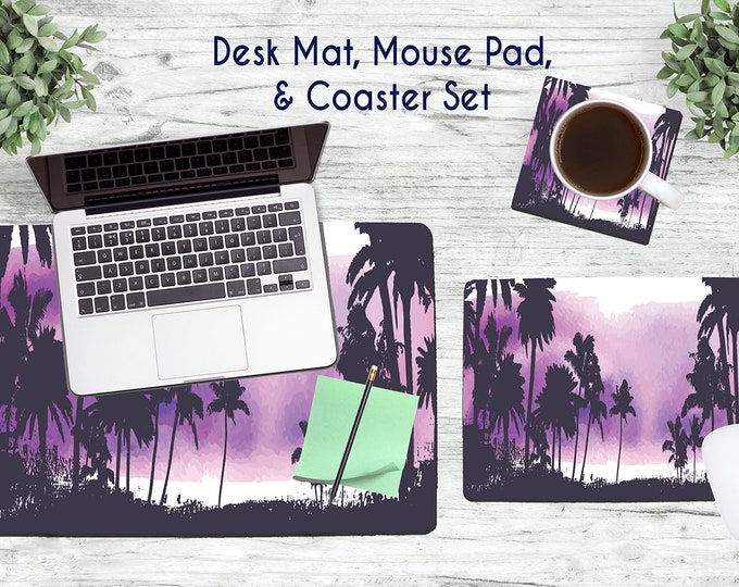 Purple Palm Trees Desk Set - Desk Accessories - Mouse Pad - Desk Mat - Coaster - Monogram Mouse Pad - Palm Tree Mouse Pad -  Office Desk Set