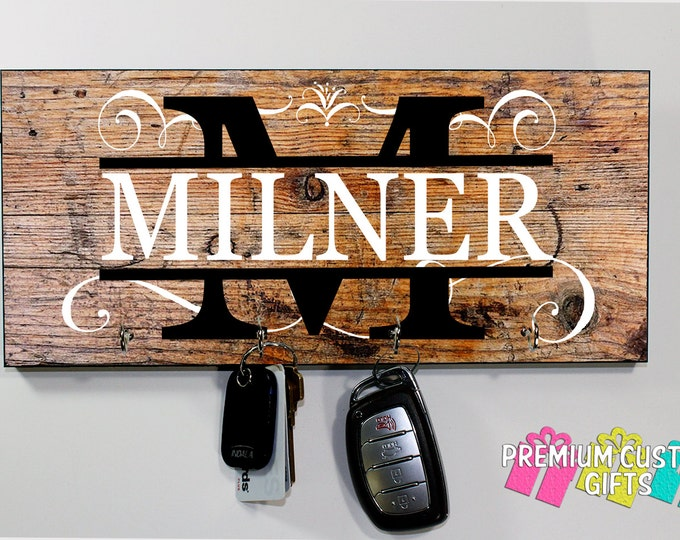 Distressed Personalized Name Key Hanger - Different Wood-Look Background Options Available- Anniversary - Housewarming Gift - Design #KH210