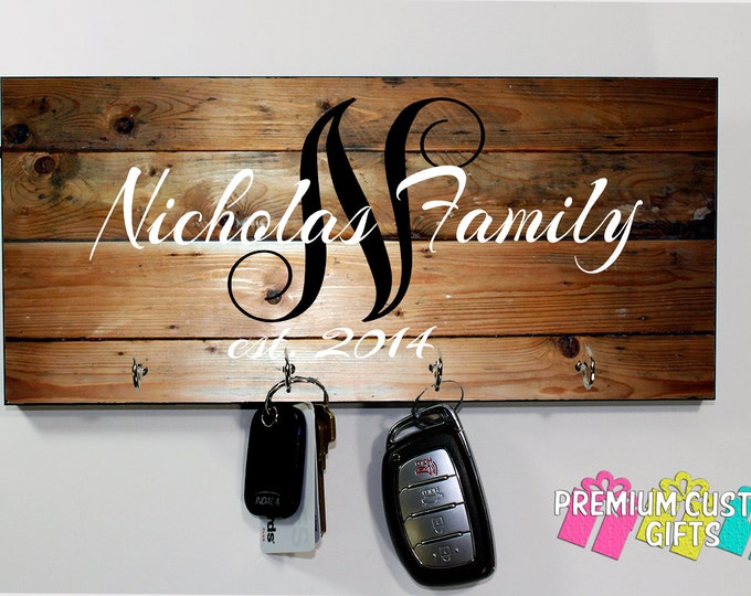 Family Name With Established Date Key Hanger Made Of MDF - Wedding and Anniversary Gift - Personalized - Housewarming Gift - Design #KH121