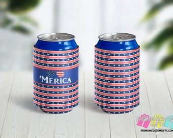 Merica Can Coolers - Personalized Can Coolies - Monogrammed Beer Can Coolers - 4th of July Can Cooler = 'Merica Stars and Stripes Can Cooler