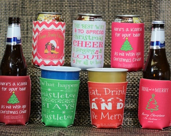 Christmas Can Coolers - Design Your Way - Fits Most Bottles, Cans, And Solo Cups - Christmas Party Coolers - Design #K146