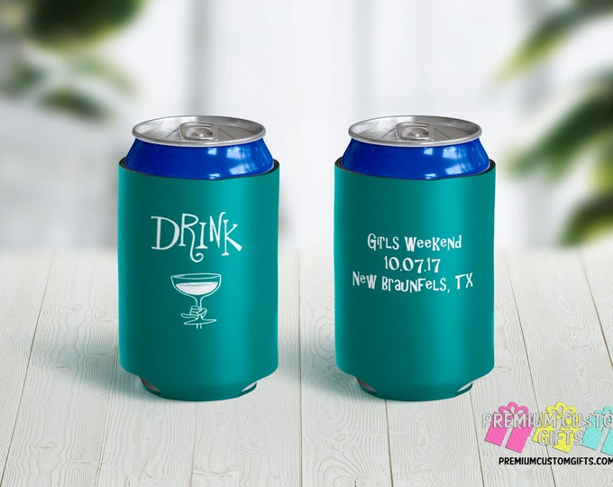 Personalized Can Coolers -Birthday Coolers - Bachelorette Can Coolers - Custom Can Coolies - Girls Weekend Can Coolers - Party Favors
