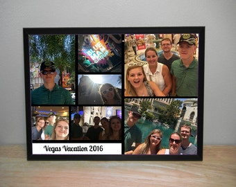 Photo Plaque Personalized With Your Family Pictures, Vacation Photo Collage. Predrilled Mounts on Back for Easy Wall Hanging