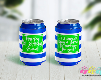 Donut grow up Birthday favors no minimum custom can coolers quick ship