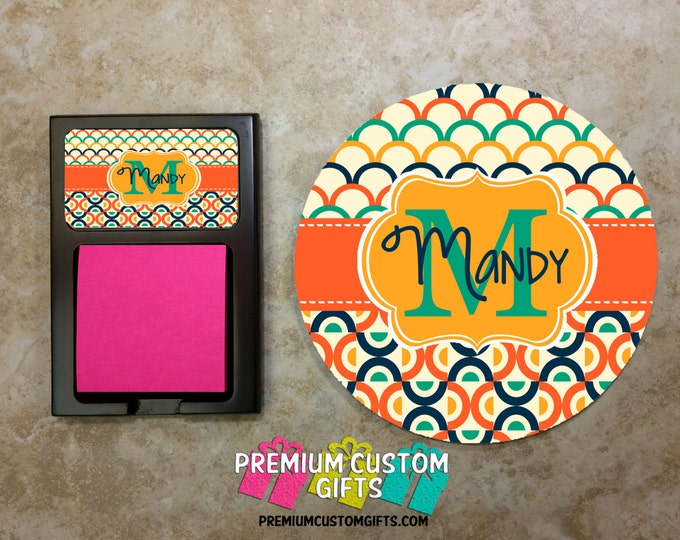 Round Mouse Pad & Matching Sticky Note Holder Combo - Custom Co-Worker Gift Set - Personalized Note Holder - Desk Set - Design #MPSH104