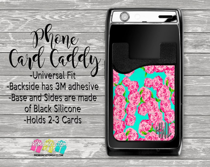 Lilly Inspired Phone Card Caddy - Personalized Card Holder - Phone Accessories - Gifts For Her - Phone Wallet - Custom Card Holder