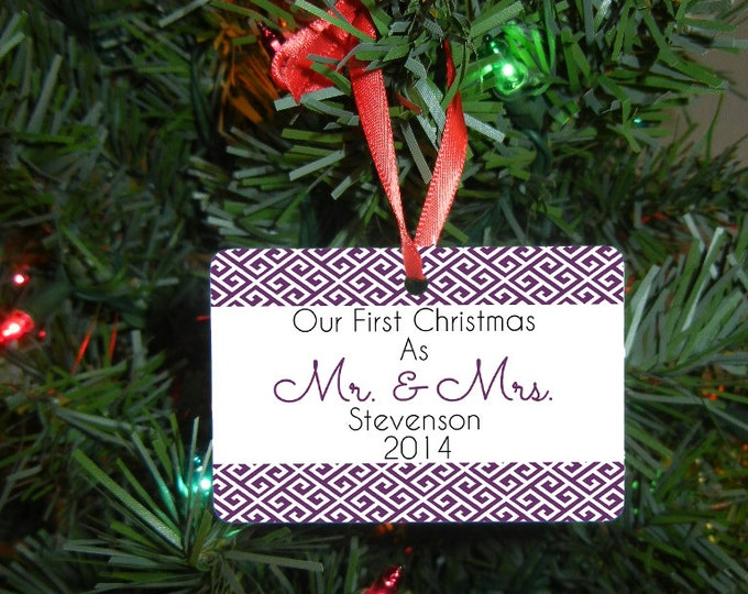 Mr. and Mrs. Christmas Ornament - Our First Christmas Ornament - Newlywed Gift - Wedding Gift - Christmas Gift - Design #OR112